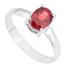 925 sterling silver 2.04cts natural red garnet oval solitaire ring size 8 t7704