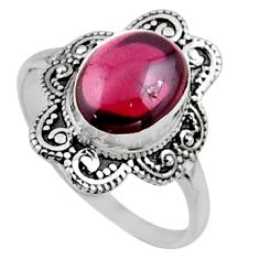 925 sterling silver 4.22cts natural red garnet oval solitaire ring size 9 r54484