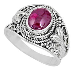 925 sterling silver 3.01cts natural red garnet oval solitaire ring size 9 r58388