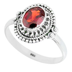 925 sterling silver 2.08cts natural red garnet oval solitaire ring size 9 r87039