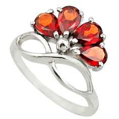 925 sterling silver 3.93cts natural red garnet pear ring jewelry size 6.5 r25387