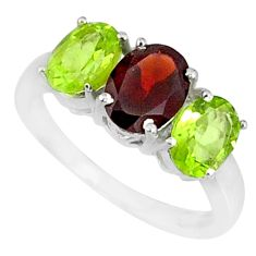 925 sterling silver 5.17cts natural red garnet peridot ring size 7.5 r84075