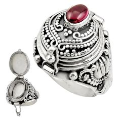 925 sterling silver 1.57cts natural red garnet poison box ring size 9 r41188