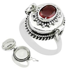 925 sterling silver 1.92cts natural red garnet poison box ring size 8.5 t52808