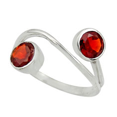 925 sterling silver 2.79cts natural red garnet ring jewelry size 7.5 r25434