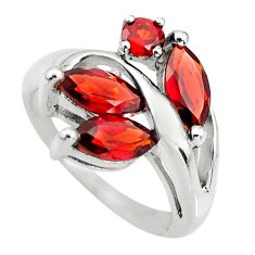 925 sterling silver 6.40cts natural red garnet ring jewelry size 5.5 r25495