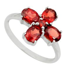 925 sterling silver 3.62cts natural red garnet ring jewelry size 6.5 r25547