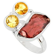 925 sterling silver 11.02cts natural red garnet rough citrine ring size 7 r38357