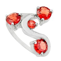 925 sterling silver 2.93cts natural red garnet round ring jewelry size 6 r25417