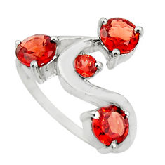925 sterling silver 2.93cts natural red garnet round ring jewelry size 6 r25498