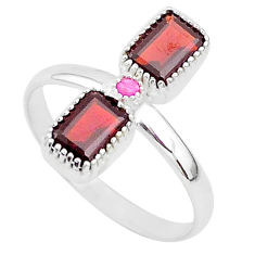925 sterling silver 3.29cts natural red garnet ruby ring jewelry size 10 t5594