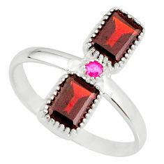 925 sterling silver 3.59cts natural red garnet ruby ring jewelry size 9 r77260