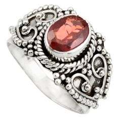 925 sterling silver 2.35cts natural red garnet solitaire ring size 7.5 d46470