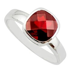 925 sterling silver 3.40cts natural red garnet solitaire ring size 6.5 r25616