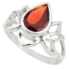 925 sterling silver 2.92cts natural red garnet solitaire ring size 6.5 r25896