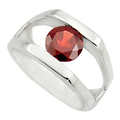 925 sterling silver 2.52cts natural red garnet solitaire ring size 5.5 r25916