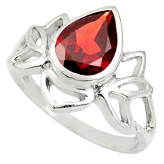 925 sterling silver 2.61cts natural red garnet solitaire ring size 6.5 r25919
