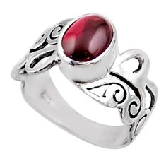 925 sterling silver 3.19cts natural red garnet solitaire ring size 8.5 r54684