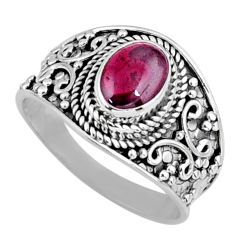 925 sterling silver 2.08cts natural red garnet solitaire ring size 8.5 r58652