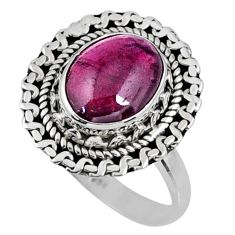 925 sterling silver 3.98cts natural red garnet solitaire ring size 7.5 r58995