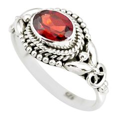 925 sterling silver 1.57cts natural red garnet solitaire ring size 8.5 r85633