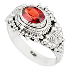 925 sterling silver 1.48cts natural red garnet solitaire ring size 6 r85604