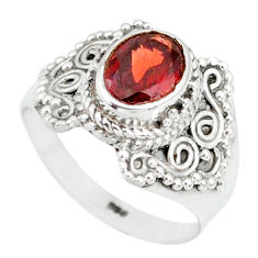 925 sterling silver 2.20cts natural red garnet solitaire ring size 6 r87026