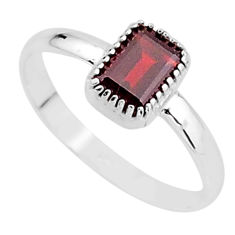 925 sterling silver 1.42cts natural red garnet solitaire ring size 6 t7428