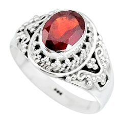 925 sterling silver 2.06cts natural red garnet solitaire ring size 7 r87030