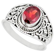 925 sterling silver 2.17cts natural red garnet solitaire ring size 8 r68967