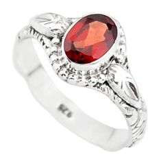 925 sterling silver 1.46cts natural red garnet solitaire ring size 8 r85608