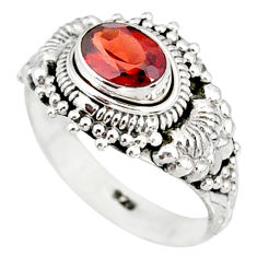 925 sterling silver 1.53cts natural red garnet solitaire ring size 8 r85628