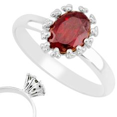 925 sterling silver 1.98cts natural red garnet solitaire ring size 9 r82811