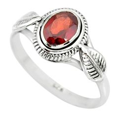 925 sterling silver 1.47cts natural red garnet solitaire ring size 9 r85637