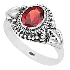 925 sterling silver 2.14cts natural red garnet solitaire ring size 9 t1353