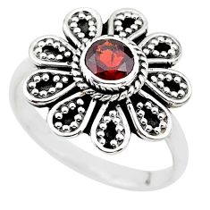 925 sterling silver 0.86cts natural red garnet solitaire ring size 6.5 t19844