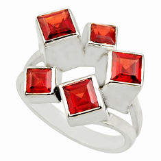 925 sterling silver 4.90cts natural red garnet square ring jewelry size 8 r25695