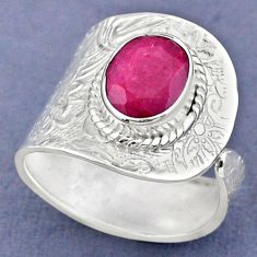 925 sterling silver 4.37cts natural red ruby adjustable ring size 9.5 r63368