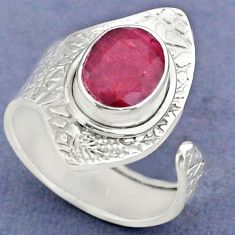 925 sterling silver 3.80cts natural red ruby adjustable ring size 8.5 r63384