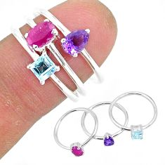 925 sterling silver 3.05cts natural red ruby amethyst 3 rings size 7 r93064