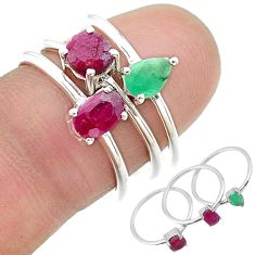 925 sterling silver 2.72cts natural red ruby emerald 3 rings size 7 t17609