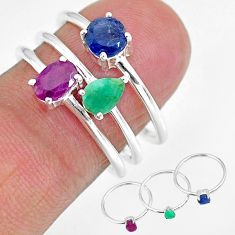 925 sterling silver 3.28cts natural red ruby emerald 3 rings size 8 r92428