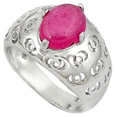 925 sterling silver natural red ruby oval shape ring jewelry size 8.5 c17737