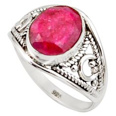925 sterling silver 4.05cts natural red ruby oval solitaire ring size 7.5 r35450