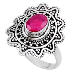 925 sterling silver 2.20cts natural red ruby oval solitaire ring size 8.5 r54386