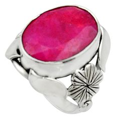 925 sterling silver 9.98cts natural red ruby oval solitaire ring size 6 r22747