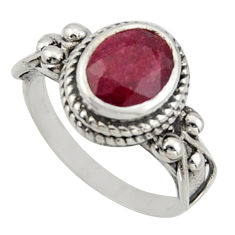 925 sterling silver 3.37cts natural red ruby oval solitaire ring size 7 r40989