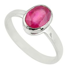 925 sterling silver 2.03cts natural red ruby oval solitaire ring size 7 r70651