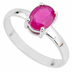 925 sterling silver 2.23cts natural red ruby oval solitaire ring size 9 t7295