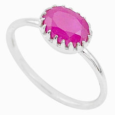 925 sterling silver 2.03cts natural red ruby oval solitaire ring size 8.5 t5224
